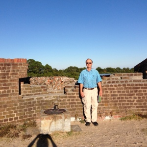The Damaged Wall - the craters made by Union artillery projectiles pock the south and southeast walls.  Rifled cannon shot fired from Tybee Island penetrated the walls 20 to 25 inches.  Some of the 5,275 shots fired can still be seen in the walls.