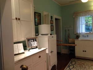 Check out the refrigerator!  Pretty neat.  And I love the cupboards.