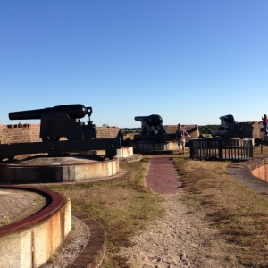 Cannons on top of Fort Pulaski.