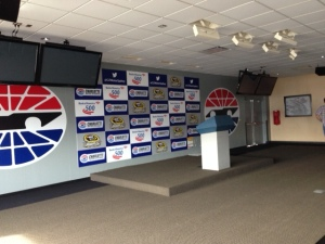 Media Center where press conferences are held.  Podium is at front.