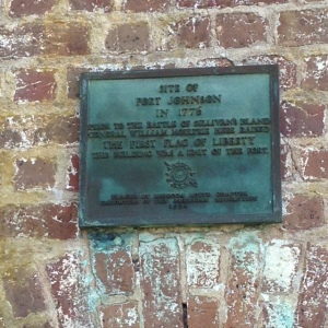 Plaque above the brick magazine.