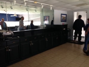 The bar and buffet area in the Sunoco Suite.