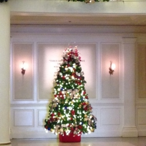 Christmas Tree at World Showcase in The American Adventure.