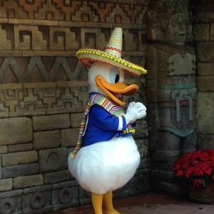 Donald Duck hanging out at Mexico in the World Showcase.