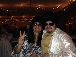 Dressed up as Elvis and Priscilla Presley at the NY's Eve Gala.