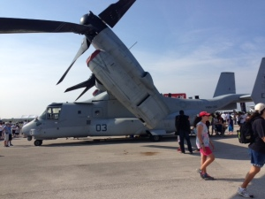 MV-22 Osprey that was on display.  Dave and I had the privilege of walking through this impressive machine.  Later in the afternoon, it participated in the air demonstration.  Very impressive!