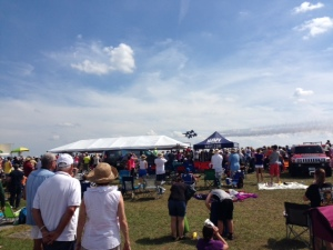 The Blue Angels flying over.  Totally awesome!!