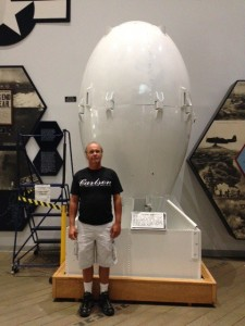 A replica of the Atom Bomb.  I had Dave stand in front of it to give you an idea of how big this bomb was.