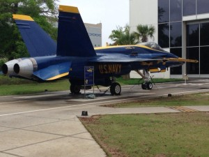 A decommissioned Blue Angels plane.