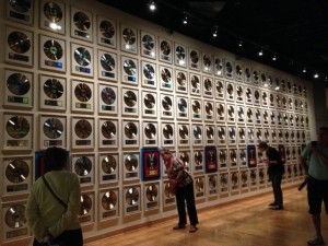 Gold Records gracing the walls of the County Music Hall of Fame.  There were some that you could push a button and the song from that particular album would play.