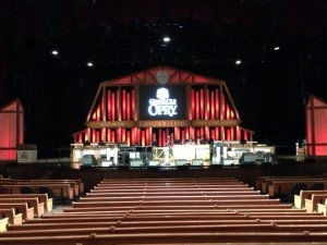 Facing the stage from the back of the Grand Old Opry.