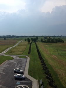 View of Sunken Road (Bloody Lane) looking out from the Observation Tower.